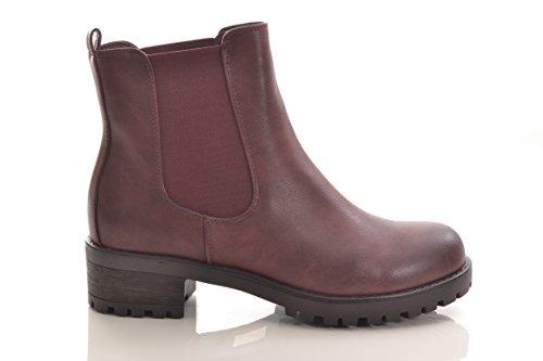 Chelsea Winterstiefel Damen Stiefel Stiefelette warm gefüttert hochwertige Lederoptik Boots Biker 945PABordeaux
