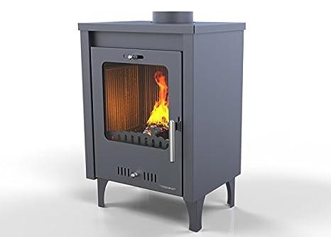 Hosseven, estufa de leña OLYMPUS 7,5 kW, bio eficiencia clase energética A+ eco calefacción y bioclimatismo sostenible, color gris: Amazon.es: Hogar