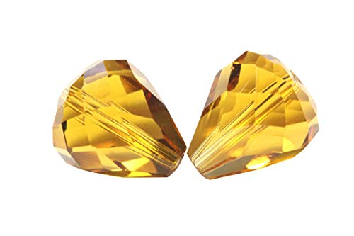 50pcs 12x10mm Adabele Austrian Teardrop Crystal Beads Amber Yellow Compatible with 5500 Swarovski Crystals Preciosa SST-1207