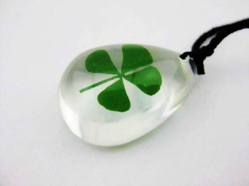 Gozebra(TM) 5pcs mini shamrock real green four leaf clover Lucid drop pendant