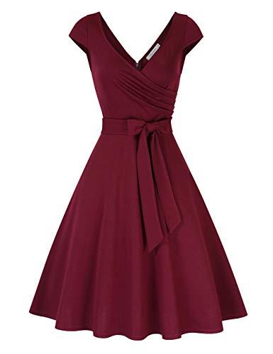 KOJOOIN Damen Kleider Vintages Cocktailkleid 50er V-Ausschnitt Rockabilly Retro Kleider Hepburn Stil Ballkleid(Verpackung MEHRWEG)