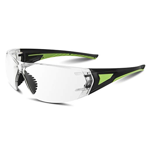 CBB Safety Goggles, Safety Glasses with Anti-Scratch/Anti-Fog Coated lenses, and UV Protection,Black Green Frame,Universal