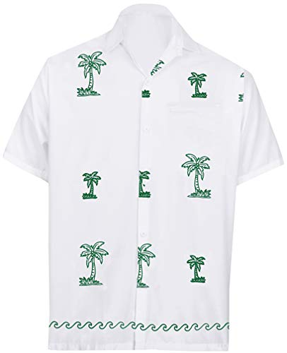 LA LEELA Rayon Embriodered Beach Party Shirt White Small   Chest 38