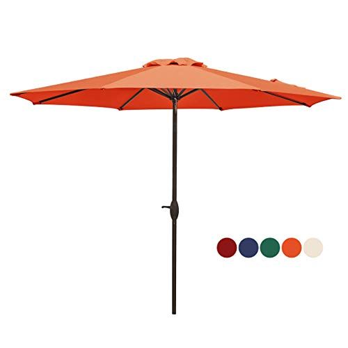 HASLE OUTFITTERS Patio Umbrella 9FT Table Umbrella Outdoor Market Umbrella with Tilt Adjustment and Crank Lift System Orange