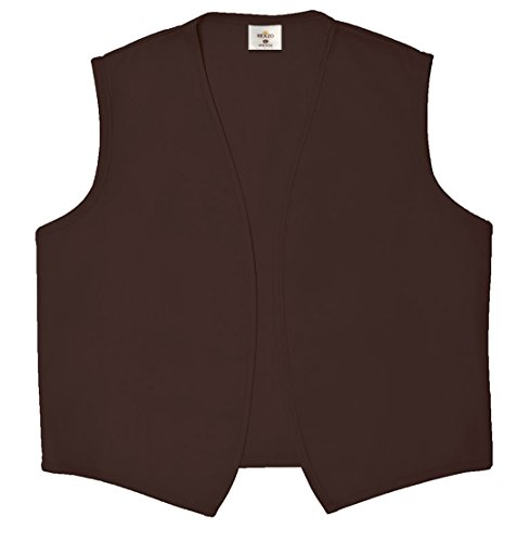 REXZO Unisex Vest No Pocket No Buttons– Made in The USA - Brown, -
