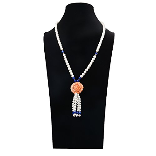 Tahitian Costume Shells (Romantic Time Natural Retro National Wind Blooming Pure White Pearl Shell Pendant Necklace (orange))