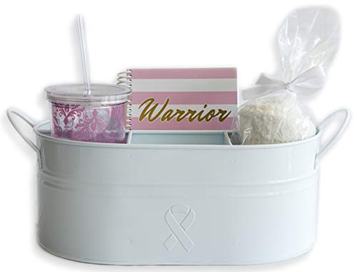 Breast Cancer Caddy Gift Bundle : Powder-Coated Metal Caddy + Insulated 20 oz. Drinking Cup and Straw + One Pair of Fuzzy Socks + Spiral Notebook for Warriors
