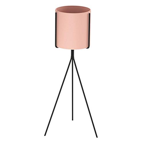 (AO Wrought Iron Flower Stand Nordic Floor-Standing Flower Pot Rack Corner Multifunctional Storage Shelf for Indoor Balcony Living Room (Color : Pink, Size : L))