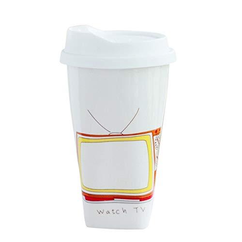 Fiesta Taza de recuerdo de mensaje de cerámica de pared doble de 300 ml de moda con tapa de silicona Taza de café de...