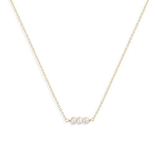 Befettly Womens One Layers Gold Choker Necklace Imitation Pearls Pendant Handmade 14K Gold Fill Boho Chain-CK2-3Pearls ()