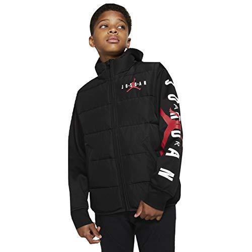 Nike Jordan HBR Puffer Boy's Jacket (Black/Gym Red, M (10-12)) (Nike Boy Coat)