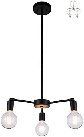 XiNBEi Lighting Chandeliers, 3 Light Black Pendant Light Ceiling Chandelier Light with LED Bulbs for Kitchen Dining Room XB-C1211-3-MBK