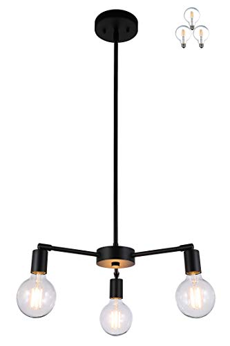 XiNBEi Lighting 3 Light Chandelier, Pendant Lighting with LED Bulbs, Matte Black Finish XB-C1211-3-MBK