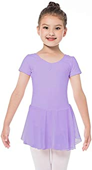 Bezioner Girls Ballet Dance Dress Purple Ballet Leotard with Skirt for Girls Kids