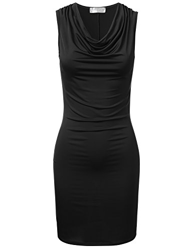 Black Cowl (FLORIA Womens Cowl-Neck Ruched Draped Sleeveless Fitted Soft Sexy Dress Made in USA Black XL)