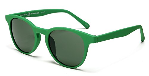 - Samba Shades Miami Classic Round Horned Rim Sunglasses with Rubber Green Frame, Green Mirror Lens
