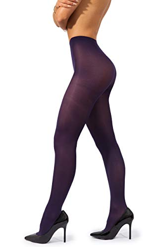 sofsy Opaque Microfibre Tights for Women - Invisibly Reinforced Opaque Brief Pantyhose 40Den [Made In Italy] Violet Purple 4 - -