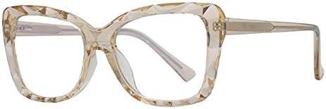 Miwaimao だてめがね レディース,ブルーライトブロッキングメガネコンピューターメガネ女性用光学フレームアンチブルーライトメガネ、ブラウン