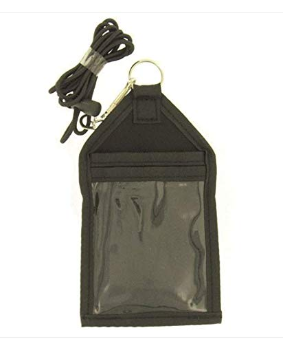 Lanyard ID Card Badge Holder - Badge Card Holder Nylon - Neck Black Card Holder - Tactical Military Identification Card Holder: Cloth Pockets with Lanyard & Keychain for Keys - Great for Work