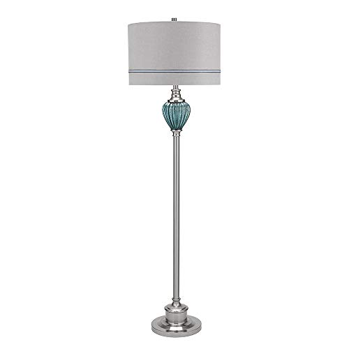 Catalina Lighting 20900-000 Traditional Smoked Matte Mercury Glass and Brushed Nickel Floor Lamp, Linen Shade and 3-Way Switch, 63.5