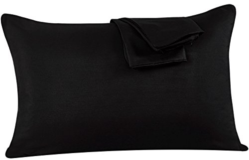 Zippered Pillowcases Queen Black Soft and Durable Brushed Microfiber 1800 Plush Experience Machine Washable Pack of 2