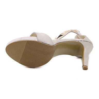 LvYuan sandalias de los zapatos del club de verano fiesta de bodas de lana correa de tobillo&noche del vestido de tacón de aguja con almond