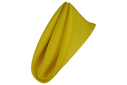 Cloth Dinner Napkins for Party Restaurant Wedding Hotel Quality Polyester 1 Dozen 18 by 18 - Wedding Napkins Yellow