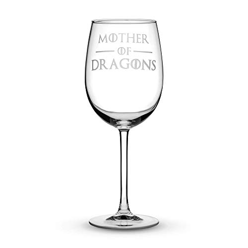 (Premium Game of Thrones Wine Glass with Stem, Mother of Dragons, Hand Etched 15.4 oz Tulip Gift Glasses, Made in USA, Sand Carved by Integrity Bottles)