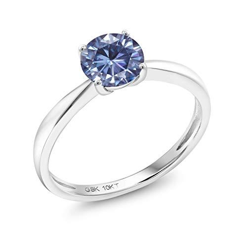 (10K White Gold Solitaire Ring Vivid Persian Blue Round 1.00ct (DEW) Created Moissanite by Charles & Colvard (Size 5))