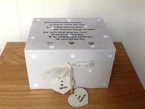 Shabby Chic estilo personalizado regalo para novia de boda Joyero caja de regalo