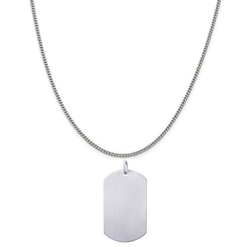 Rembrandt Charms Sterling Silver Dog Tag Satin Finish Charm on a Curb Chain Necklace, 18