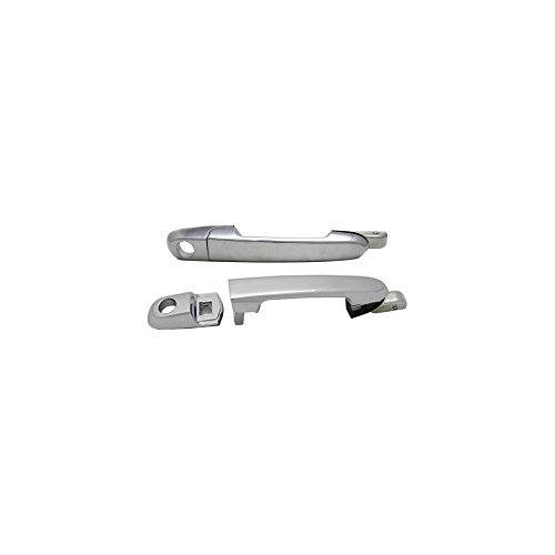 Chrome Door Handle Accents - Evan-Fischer EVA18772066445 Exterior Door Handles Set of 2 Front Left and Right Side Plastic Chrome W/Keyhole for Hyundai Accent
