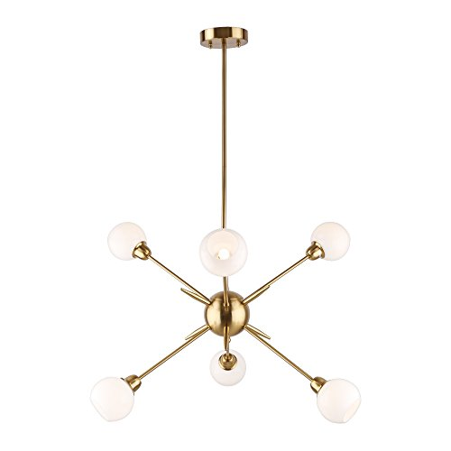Sputnik Chandelier 6 Lights Vintage Pendant Lighting Fixtures Mid Century Ceiling Chandelier Brushed Brass [UL Listed]