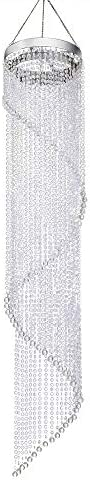 FlavorThings Faux Crystal Beaded Sparkling Iridescent Spiral Chandelier, Great idea for Wedding Centerpieces Decorations and any Event Party Decor,4 Feet Long