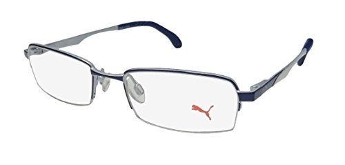 Puma 15418 Mens/Womens Designer Half-rim Flexible Hinges Eyeglasses/Glasses (48-17-140, Blue / - Rim Half Eyeglasses