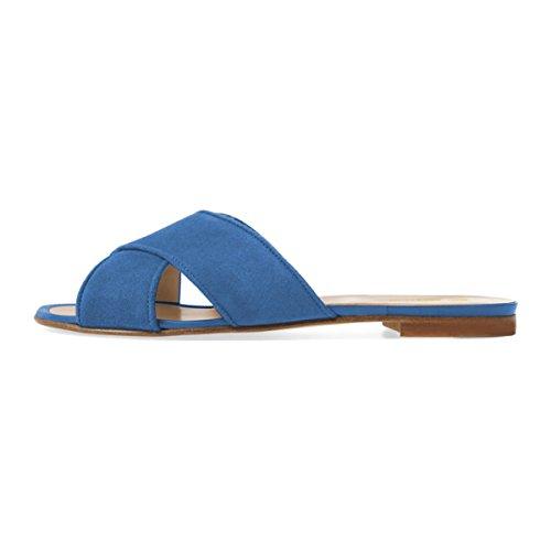 FSJ Heels Women 15 Casual Mules Size Suede Blue Low Shoes Toe 4 Open Crisscross Flats Slide Sandals US ffS8nRHqr