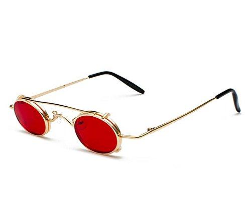 hippie Retro no polarizado hombres punky sol UV400 ovales extraíbles Dorado mujeres y Rojo estilo gafas vintage de n80Yrq8X