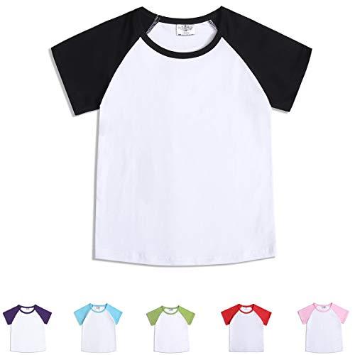 - CloudCreator Toddler Baby Girls Boys Short Sleeve Shirts Raglan Shirt Baseball Tee Cotton T-Shirt Black