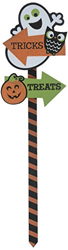 Amscan Family Friendly Pumpkin Yard Sign Halloween Trick Or Treat Party Outdoor Decoration, Paper, 21