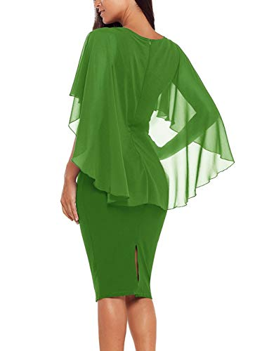 Ruffle Color Plus Cape Sleeve Chiffon Pencil Dress Size Party Bodycon Green Womens XMYXTX Solid wHqapWIg7w