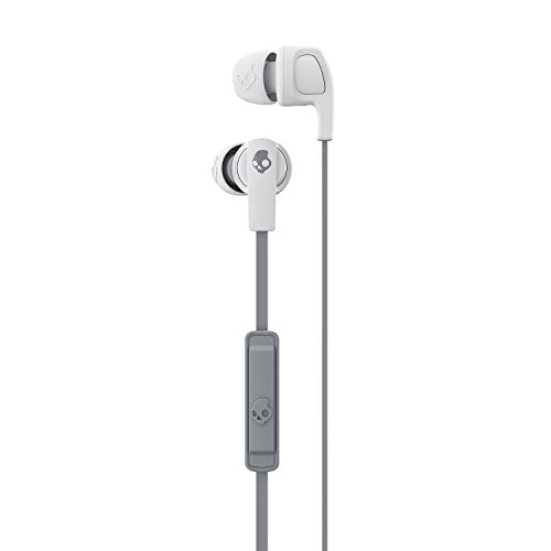Skullcandy Smokin Buds 2 Noise Isolating Earbuds with in-Line Microphone and Remote, Moisture Resistant, Oval-Shaped and Angled for Long-Term Comfort, Street/Gray/Dark Gray