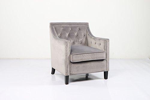 JGW Furniture 9112-20-Grey Velvet Accent Chair, Grey