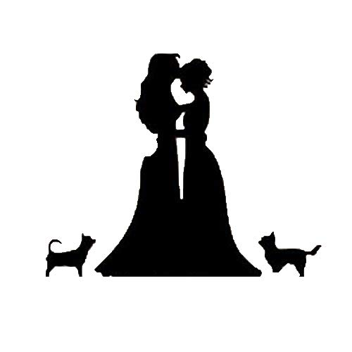 Romantic lesbian and dog cake hat, lady and lady with two do