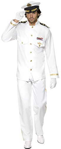 Men's Deluxe White Yacht Boat Captain Sea Ship Navy Admiral Costume Medium 38-40 -