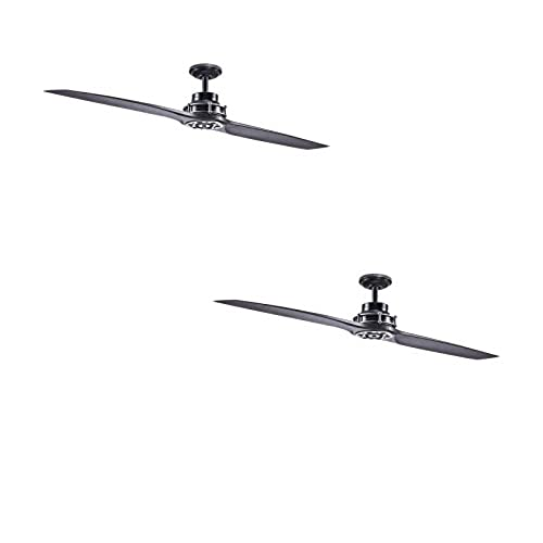Wood ceiling fan amazon kichler lighting 56 in satin black with antique pewter accents downrod mount indoor ceiling fan with remote 2 blade aloadofball Images