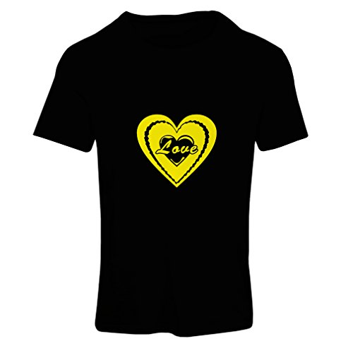 T Shirts for Women I Love You - Valentines Day Quotes Great Gifts (Medium Black Yellow)]()