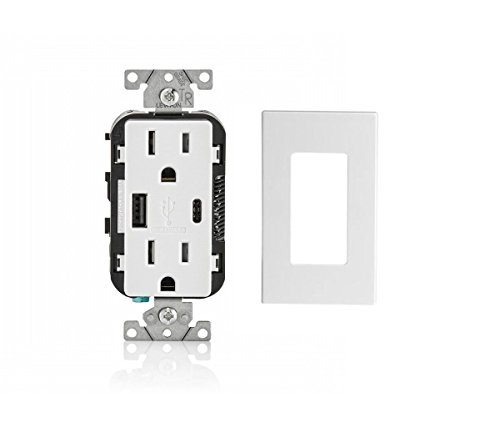 Leviton T5633-SWP-BW-1PK 15A 125V Decora Tamper Resistant Type A and Type C USB Charger Duplex Receptacle Outlet with 1 Screwless Wallplate Combo Pack, (Leviton White 15a Tamper)