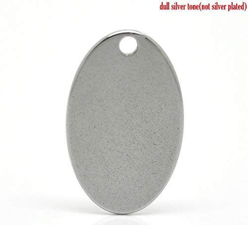 (Stainless Steel Charm Pendants | Oval Silver Tone 17.5mm X 11.5mm (1))