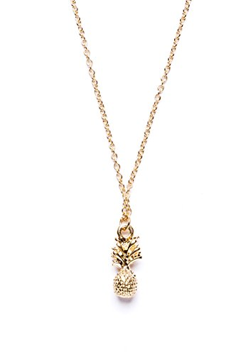 [Happiness Boutique Women Pineapple Pendant Necklace in Gold | Elegant Layering Chain Necklace nickel] (Unique Costume Ideas For Teenage Girls)