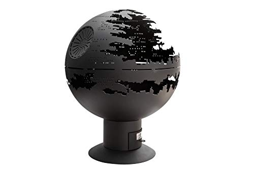 Patio Firepit Wood Burner - Deathstar Premium Spherical fire Pit 33,5 inches Large, Made of Flat Steel - Perfect Art idea for Landscape, Backyard, and Garden Decor Best for Outdoor Party
